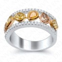 1.33 Carat Fancy Multi-Colored Diamond Ring in 18K White Gold