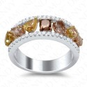 1.99 Carat Fancy Multi-Colored Diamond Ring in 18K Two-Tone Gold