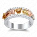 2.07 Carat Fancy Multi-Colored Diamond Ring in 18K Two-Tone Gold