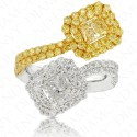 2.75 Carat White Diamond and Fancy Light Yellow Diamond Ring in Platinum/18K Gold