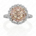 2.15 Carat Fancy Pink-Brown Diamond Ring in 18K Two-Tone Gold