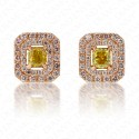 Vivid Yellow Diamond Studs with Double Pink Diamond Halo