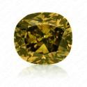 0.52 Carat Cushion Cut Fancy Deep Brownish Greenish Yellow Diamond