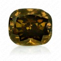 1.01 Carat Cushion Cut natural Fancy Dark Brownish Greenish Yellow Diamond