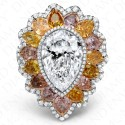 5.03 Carat E VS2 and Fancy Multi-Colored Diamond Ring in Platinum & 18K White Gold
