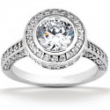 Classic style engagement ring with bold pave set diamond encrusted band and halo