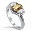1.75 Carat Oval Fancy Brownish Greenish Yellow Diamond Ring in 18K White Gold
