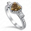 1.70 Carat Fancy Deep Brownish Greenish Yellow Diamond Ring in 18K White Gold