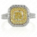 1.80 Carat Fancy Yellow Diamond Ring in 18K Two-Tone Gold