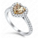 1.42 Carat Fancy Dark Yellow Brown Diamond Ring in 18K White Gold