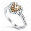 1.42 Carat Fancy Dark Yellow Brown Diamond Ring in 18K White Gold