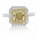 1.71 Carat Fancy Light Yellow Diamond Ring in 18K Two-Tone Gold