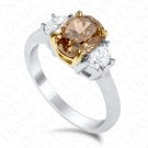 2.46 Carat Fancy Brown-Yellow Diamond Ring in 18K Two-Tone Gold