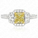 1.41 Carat Fancy Yellow Diamond Ring in 18K Two-Tone Gold