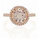 Round Morganite Ring with Pink Diamond Halo