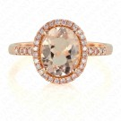1.82 Carat Pink Diamond and Natural Morganite Ring in 18K Rose Gold