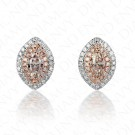 0.74 Carat Fancy Light Brownish Pink Diamond Earrings in 18K Two-Tone Gold
