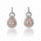 0.88 Carat Fancy Light Purplish Pink Diamond Earrings in 18K Two-Tone Gold