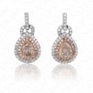 1.21 Carat Fancy Light Brownish Pink Diamond Earrings in 18K Two-Tone Gold