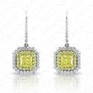2.51 Carat Fancy Light to Fancy Yellow Diamond Earrings in 18K Two-Tone Gold