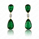 11.87 Carat Diamond and Natural Emerald Earrings in 18K Yellow Gold and Platinum