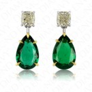 10.45 Carat Diamond and Natural Emerald Earrings in 18K Yellow Gold and Platinum