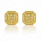 Yellow Diamond Stud Earrings with Yellow Diamond Halo