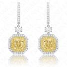 2.23 Carat Fancy Yellow Diamond Earrings in 18K Two-Tone Gold