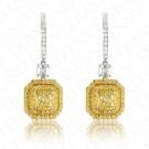 2.42 Carat Fancy Light Yellow Diamond Earrings in 18K Two-Tone Gold
