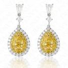 1.86 Carat Fancy Yellow Diamond Earrings in 18K Two-Tone Gold