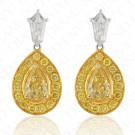 1.80 Carat Fancy Yellow Diamond Earrings in 18K Two-Tone Gold
