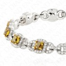 7.30 Carat Fancy Deep Yellow to Fancy Deep Brownish Yellow Diamond Bracelet in 18K White Gold