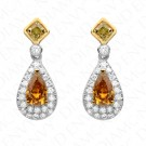 1.78 Carat Fancy Deep Orangy Yellow & Fancy Intense Yellowish Green Drop Earrings in 18K Gold