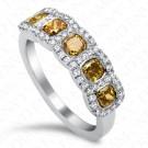 1.78 Carat Five-Stone Fancy Multi-Colored Diamond Ring in 18K White Gold