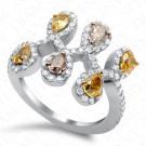2.13 Carat Fancy Multi-Colored Diamond Ring in 18K White Gold