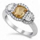 1.67 Carat Fancy Intense Brownish Yellow Diamond Ring in 18K White Gold
