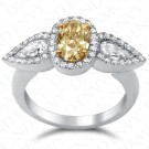 2.07 Carat Fancy Intense Brownish Yellow Diamond Ring in 18K White Gold