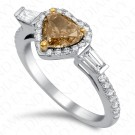 1.62 Carat Heart Shape Fancy Yellowish Brown Diamond Ring in 18K White Gold