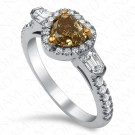 1.70 Carat Fancy Deep Brownish Greenish Yellow Diamond Ring in 18K White Gold