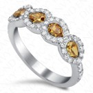 1.48 Carat Pear Shape Fancy Colored Diamond Ring in 18K White Gold