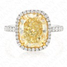 4.69 Carat Fancy Light Yellow Diamond Ring in Platinum/18K Gold