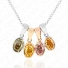 1.46 Carat Fancy Multi-Colored Diamond Pendants in 14K Gold