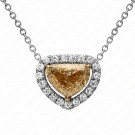 1.30 Carat Y to Z Yellow Diamond Pendant with Chain in 18K White Gold