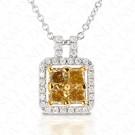 0.78 Carat Colored Diamond Pendant in 18K Two-Tone Gold