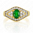 1.36 Carat Natural Emerald and Diamond Ring in 18K Yellow Gold