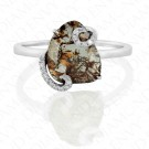 1.27 Carat Rose Cut Brown Diamond Ring in 18K White Gold