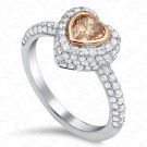 1.48 Carat Fancy Pinkish Brown Diamond Ring in 18K White & Rose Gold