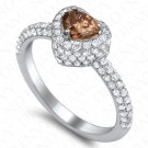 1.33 Carat Fancy Intense Yellowish Brown Diamond Ring in 18K White Gold