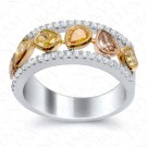 1.33 Carat Fancy Multi-Colored Diamond Ring in 18K White Gold