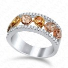 1.55 Carat Fancy Multi-Colored Diamond Ring in 18K Two-Tone Gold